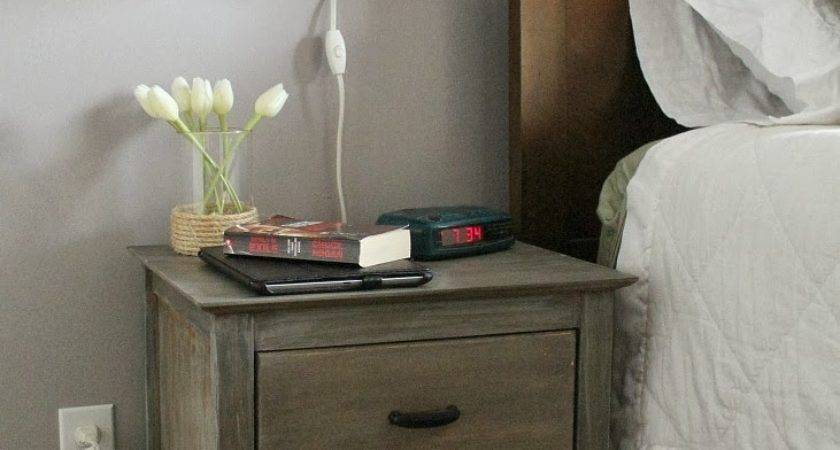 Old Bedside Wood Nightstand Table Floating Lamp