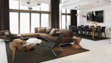 Open Plan Brown White Interior Design Ideas