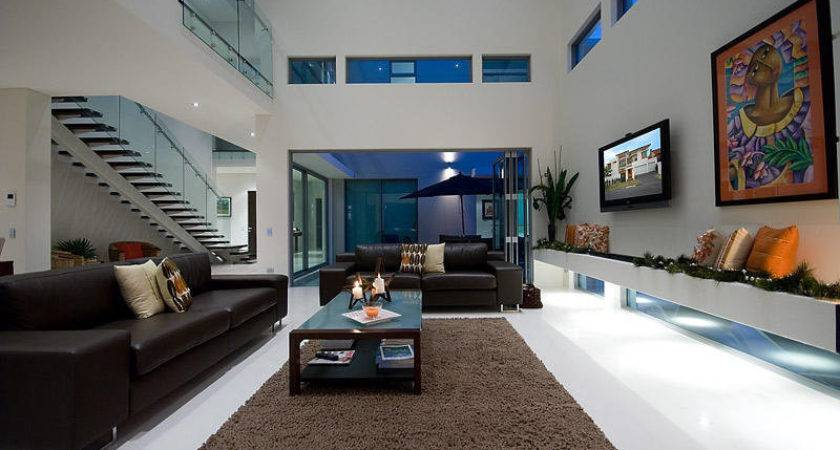 Open Plan Living Room Using Beige Colours Leather