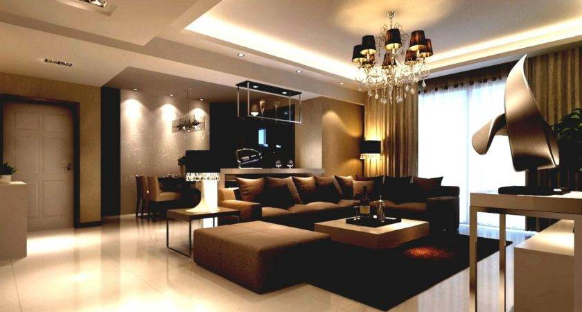 Open Space Living Room Brown Accent Its