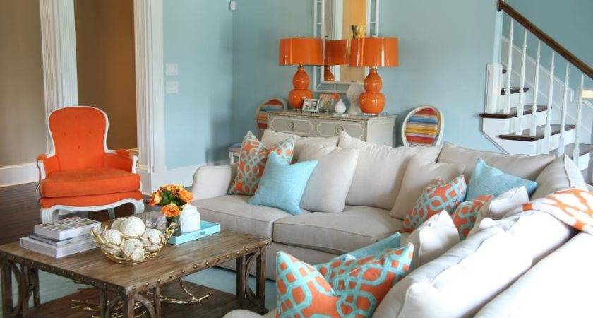 Orange Aqua Blue Coastal Living Room Jenna Buck