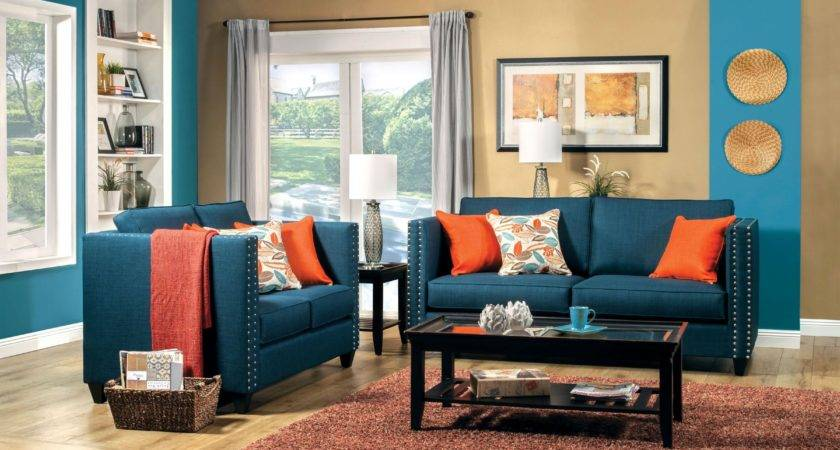 Orange Blue Brown Living Room Modern House