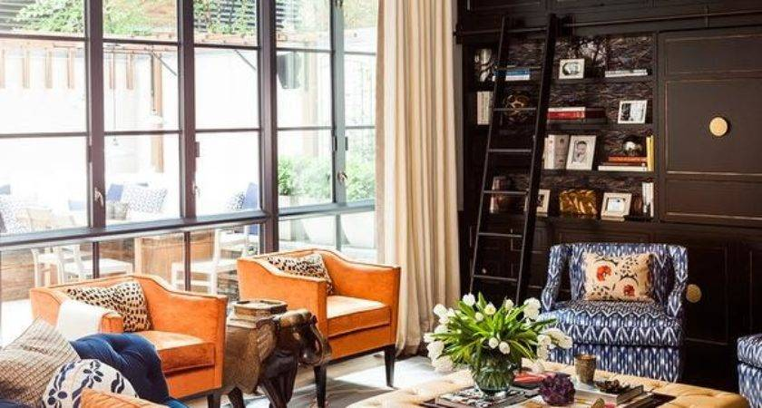 Orange Blue Living Room Design Ideas