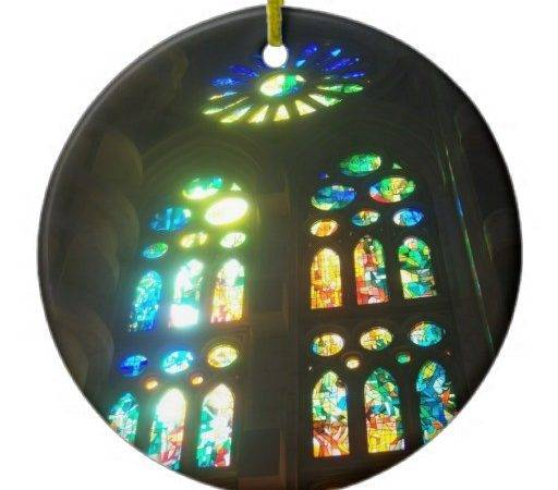Orange Blue Stained Glass Christmas Ornaments Zazzle