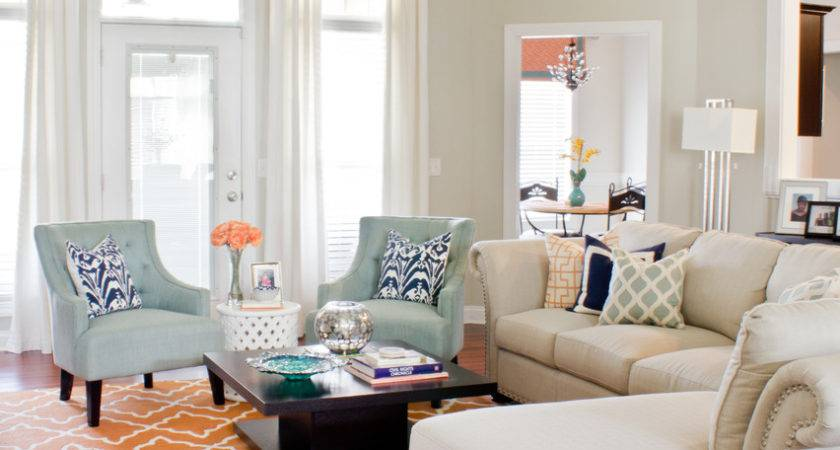 Orange Mineral Blue Living Room Design
