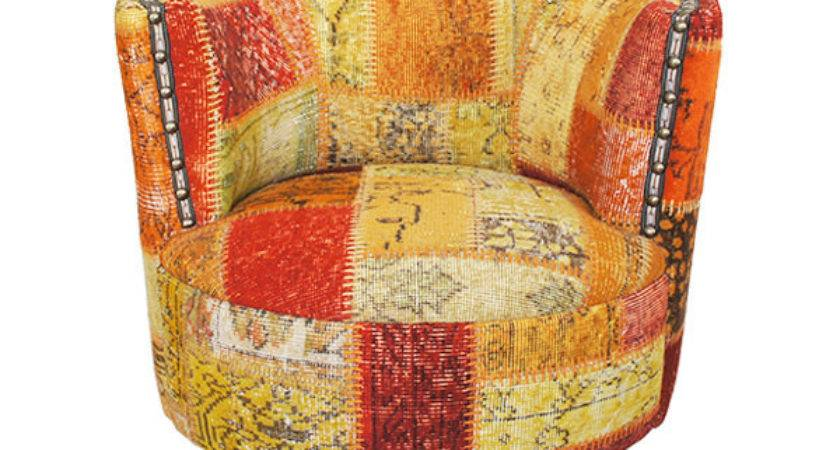 Orange Patchwork Chair Covered Overdyed