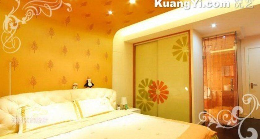 Orange Yellow Decorated Master Bedroom Design