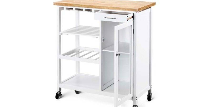 Ovela Deluxe Rubberwood Top Kitchen Storage Trolley