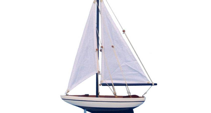 Pacific Sailer White Sails Wooden Sailboat