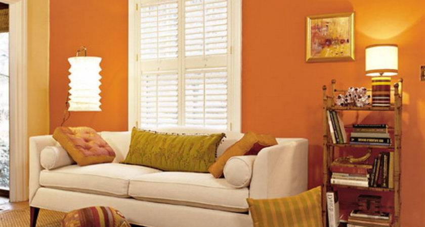 Paint Wall Orange Colors Living Rooms Home Combo