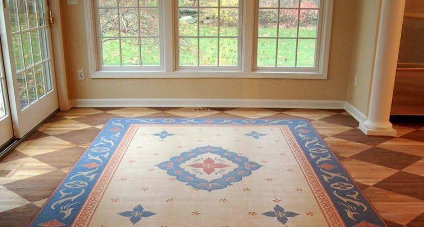 Painted Faux Oriental Rug Checkerboard Dining Room