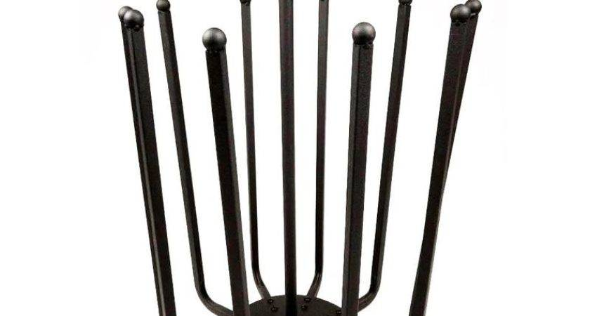 Pair Black Round Boot Shoe Rack Welly Holder Stand