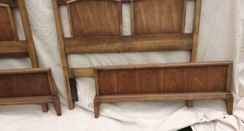 Pair Mid Century Modern Mixed Wood Twin Beds Sale