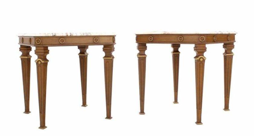 Pair Neoclassical Marble Top End Tables Sale Stdibs