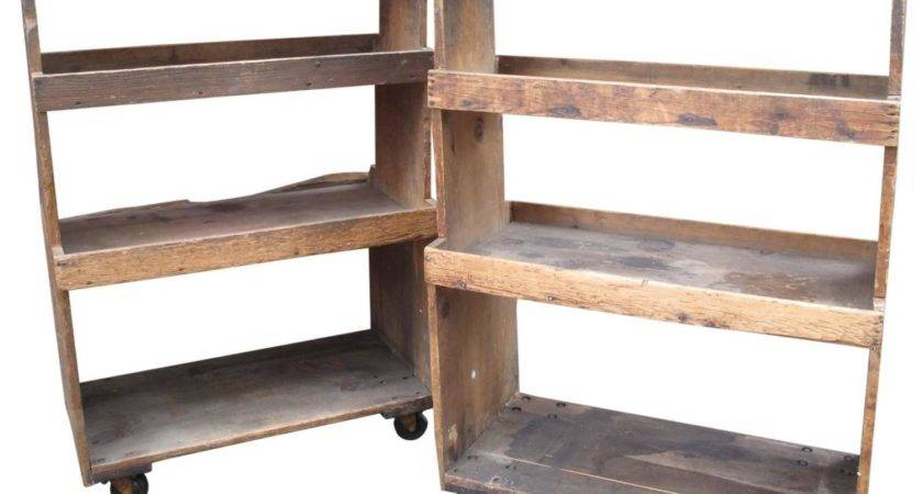 Pair Primitive Tiered Factory Shelves Stdibs