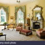 Pale Green Fringed Curtains Yellow Drawing Room