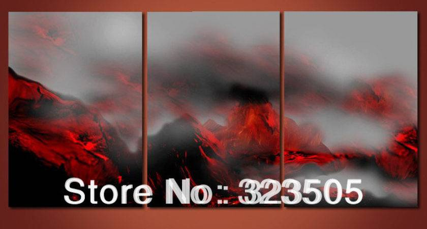 Panel Canvas Art Painting Black Red Wall