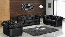 Paris Contemporary Black Leather Living Room Furniture