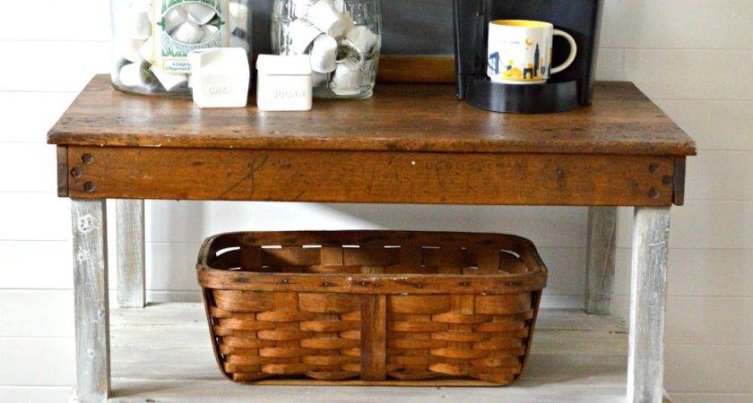 Passion Decor Industrial Work Bench Turned Coffee Bar