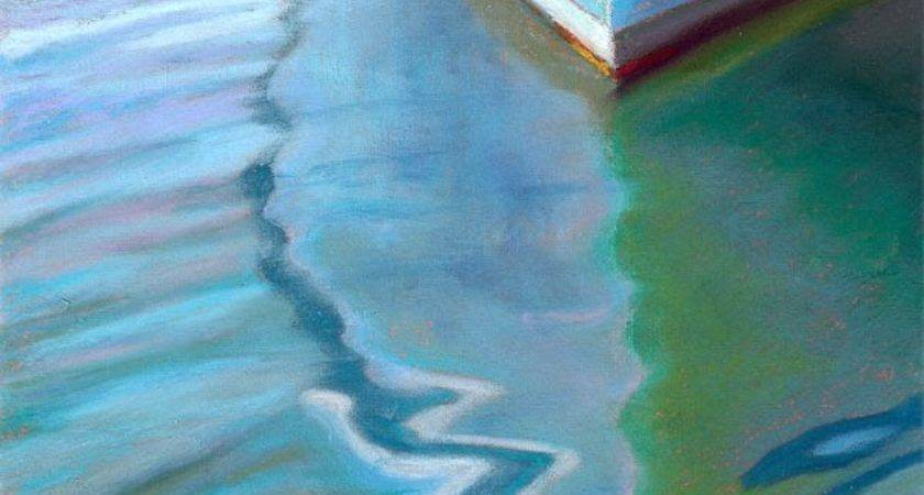 Pastel Painting Teal Boat Reflection Seascape