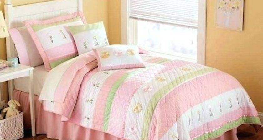 Pastel Pink Green Bedding Girls Twin Quilt