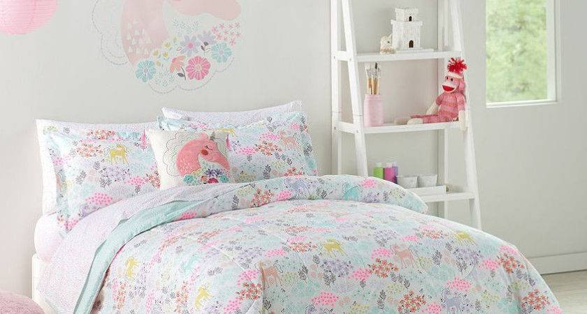 Pastel Unicorns Flowers Girls Twin Comforter Set