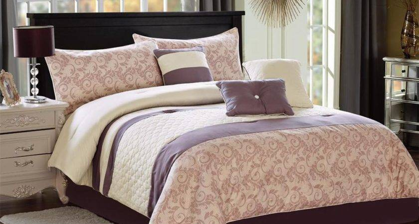 Pcs Printed Light Gray Floral Quilt Comforter Set King