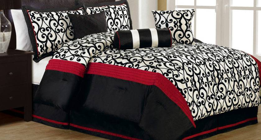 Pcs Queen Fantasia Flocking Black White Comforter Set