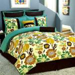 Pcs Queen Floral Yellow Greenish Blue Brown Comforter