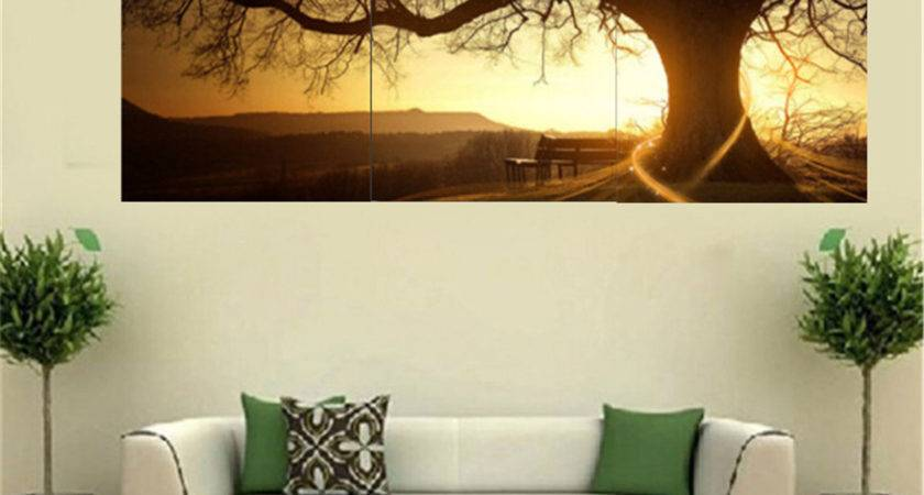 Pcs Sunset Combination Painting Printed Canvas