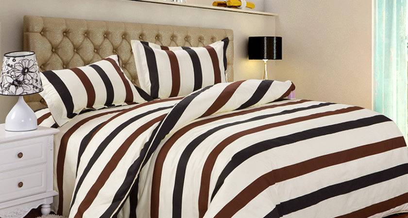 Pcs Twin Brown White Black Striped Best Bed