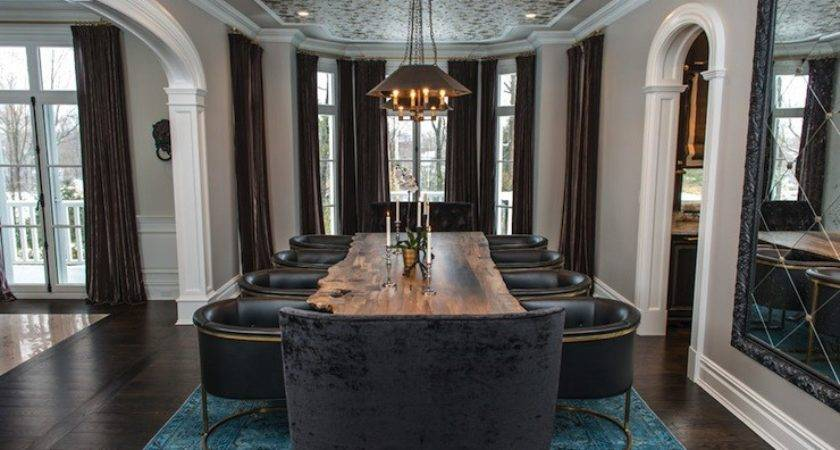 Peacock Blue Rug Contemporary Dining Room Vanessa Deleon