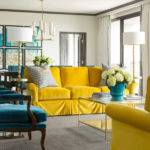 Peacock Blue Yellow Living Room Hollywood Regency