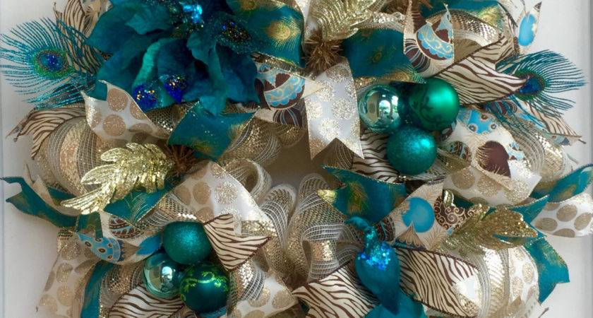 Peacock Teal Cream Gold Holiday Deco Mesh Wreath Christmas