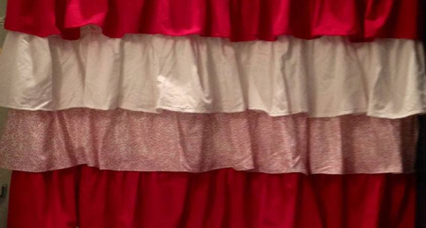 Peppermint Ruffled Shower Curtain