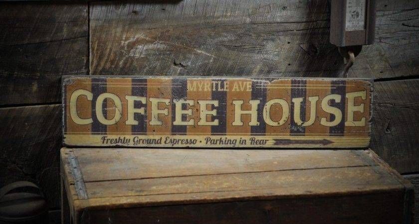 Personalized Coffee House Arrow Sign Rustic Hand Made