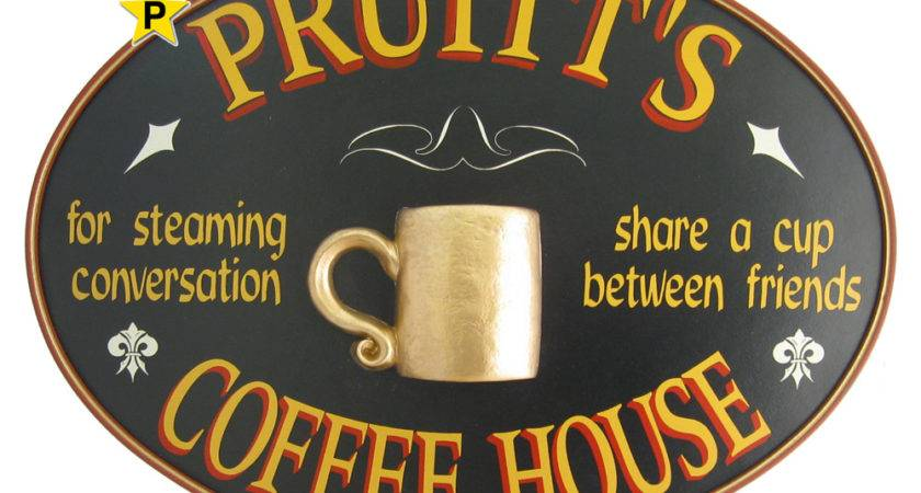 Personalized Coffee House Oval Wood Pub Sign