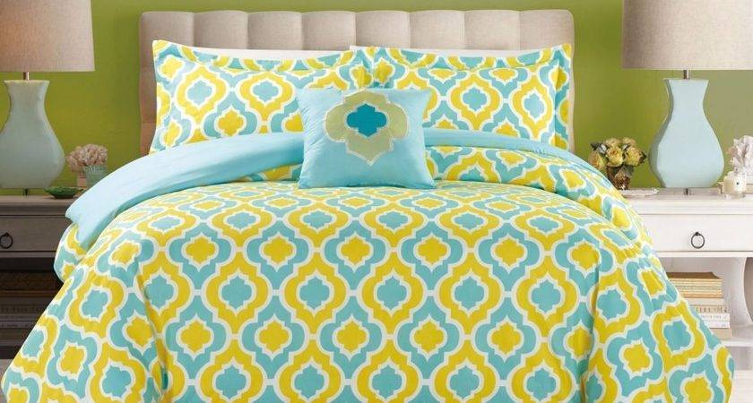 Piece Bedding Turquoise Blue Yellow King Comforter