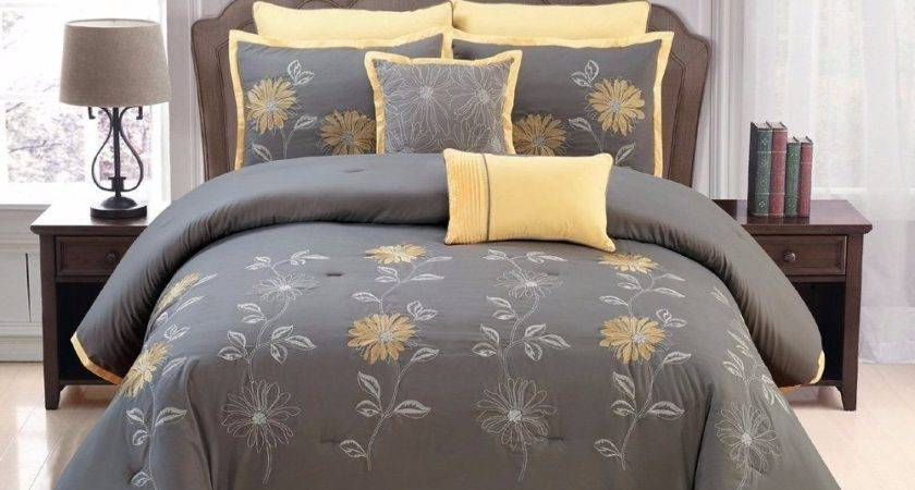 Piece Cal King Yellow Grey Renee Sunflower Embroidery