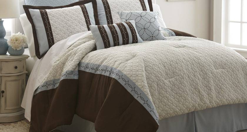 Piece Embroidered Brown White King Comforter Set