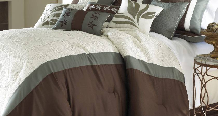 Piece Embroidered Comforter Set Brown White