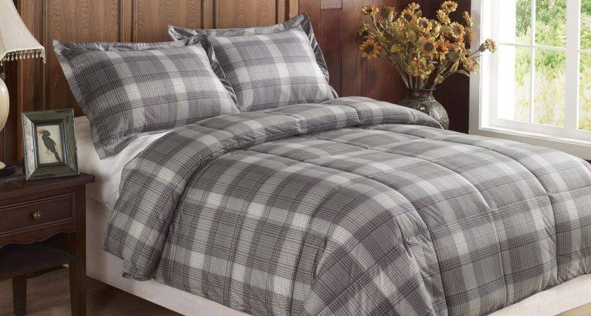 Piece Light Grey Plaid Flannel Feel Down Alternative