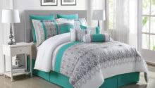 Piece Luna Teal Gray White Reversible Comforter Set Ebay