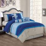 Piece Navy Blue Gray Comforter Set