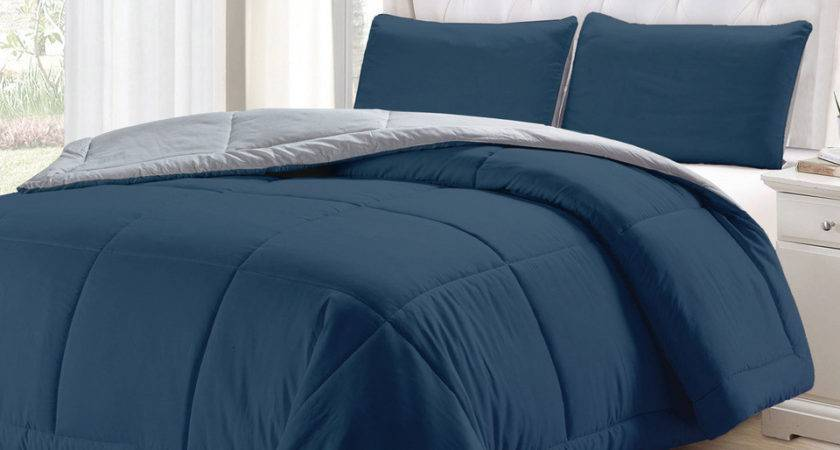 Piece Queen Comforter Set Blue Light Gray