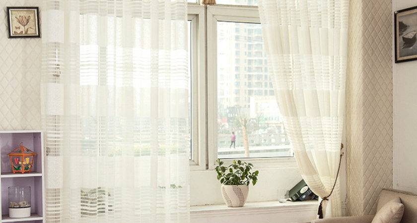 Piece Striped White Sheer Curtain Living Room Tulle