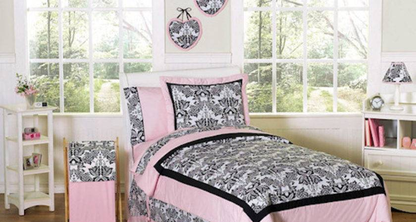 Pink Black French Style Bedding Twin Queen