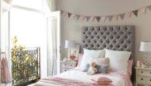 Pink Gray Girls Bedroom Banner Over Bed