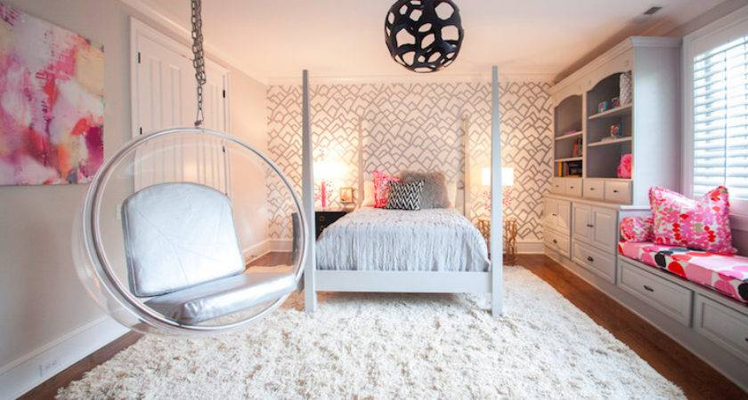 Pink Gray Girls Room Contemporary Girl