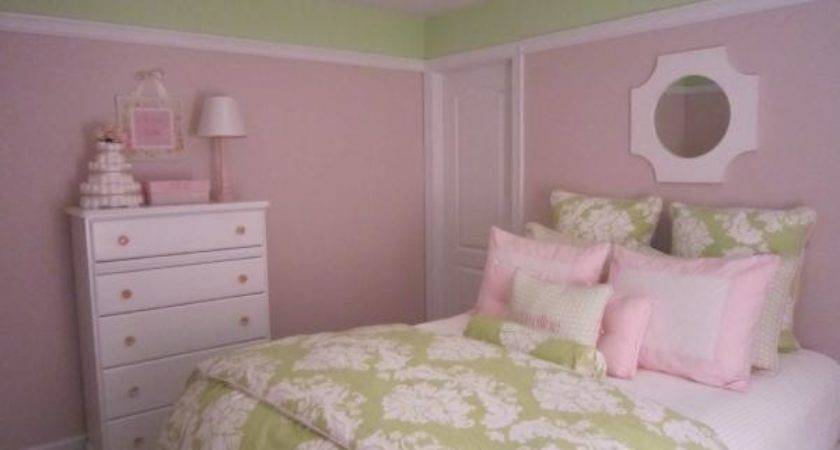 Pink Green Girl Room Transitional Nursery